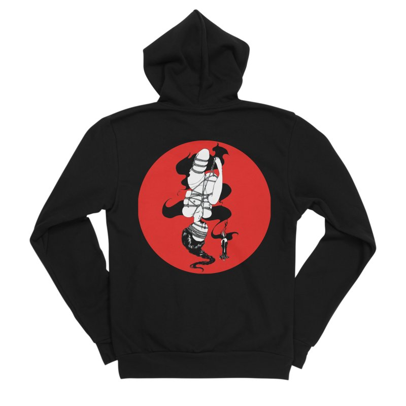 human with red Women's Sponge Fleece Zip-Up Hoody by FredRx's Artist Shop