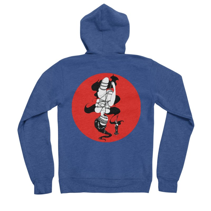 human with red Men's Sponge Fleece Zip-Up Hoody by FredRx's Artist Shop