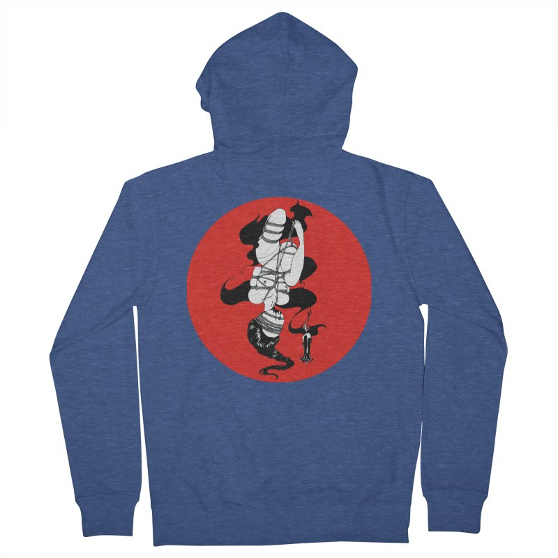 human with red Women's French Terry Zip-Up Hoody by FredRx's Artist Shop