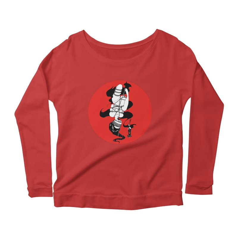 human with red Women's Longsleeve Scoopneck  by FredRx's Artist Shop
