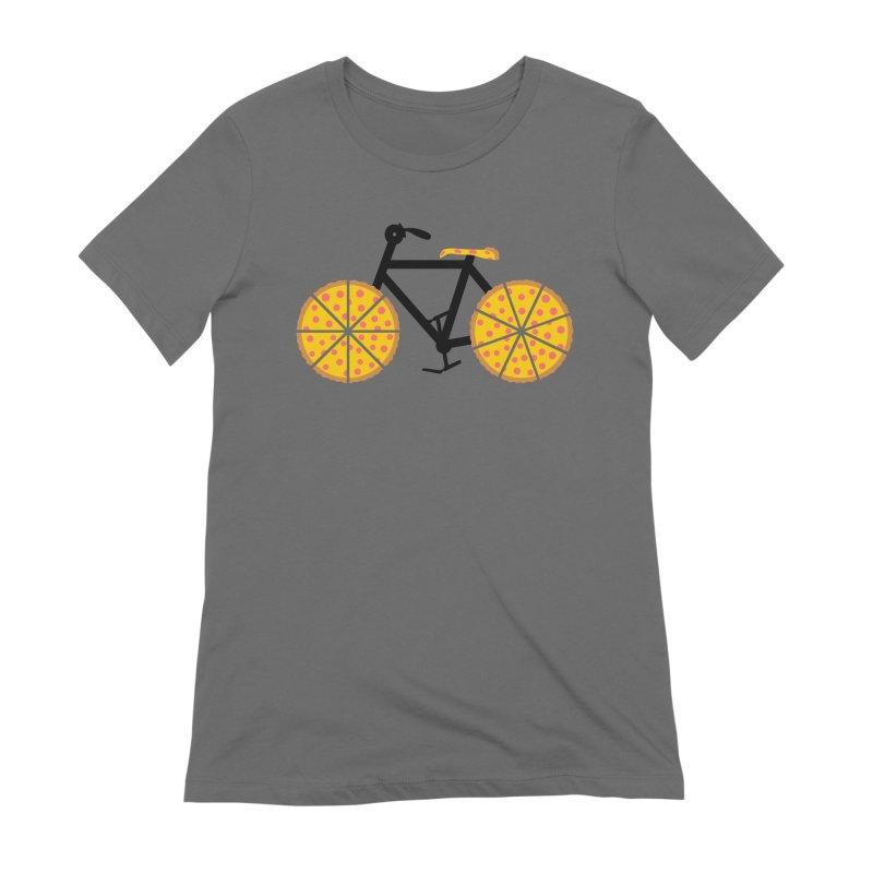 Pizza Bike Women's Extra Soft T-Shirt by Coffee Pine Studio