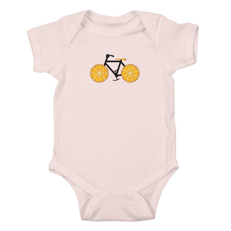 Pizza Bike Kids Baby Bodysuit by Coffee Pine Studio
