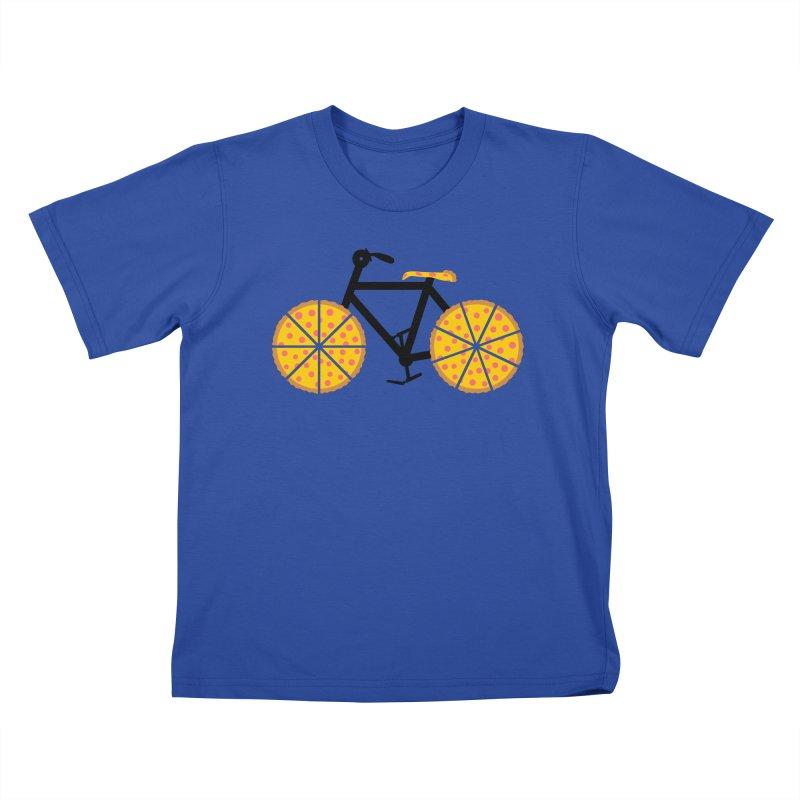 Pizza Bike Kids T-shirt by Coffee Pine Studio