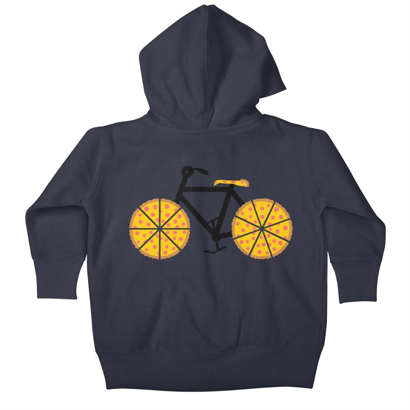 Pizza Bike Kids Baby Zip-Up Hoody by Coffee Pine Studio