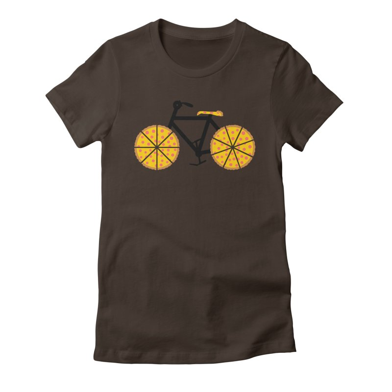 Pizza Bike Women's Fitted T-Shirt by Coffee Pine Studio