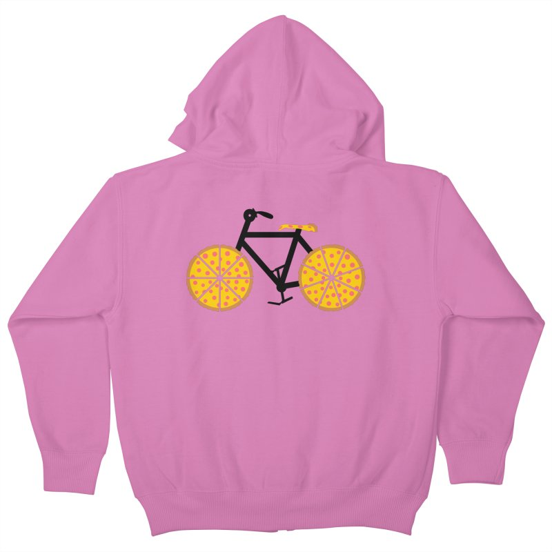 Pizza Bike Kids Zip-Up Hoody by Coffee Pine Studio