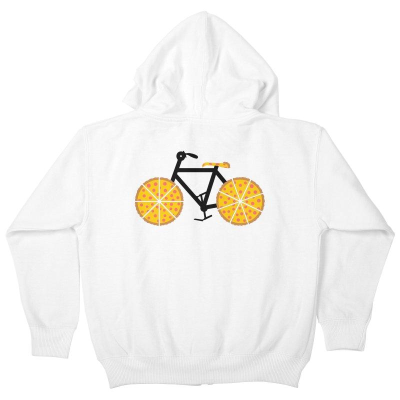 Pizza Bike Kids Zip-Up Hoody by Coffee Pine Studio