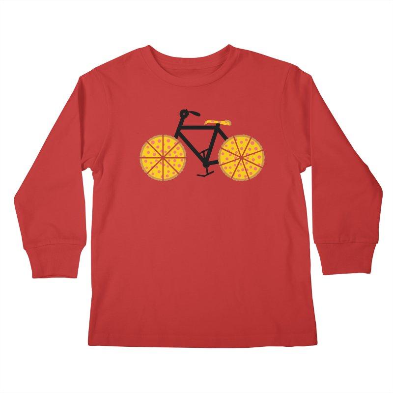 Pizza Bike Kids Longsleeve T-Shirt by Coffee Pine Studio
