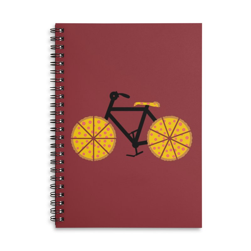 Pizza Bike Accessories Lined Spiral Notebook by Coffee Pine Studio