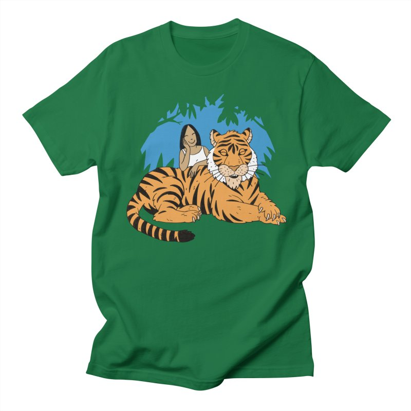 Pet Tiger in Men's Regular T-Shirt Kelly Green by Freehand