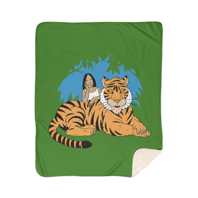 Pet Tiger Home Sherpa Blanket Blanket by Freehand
