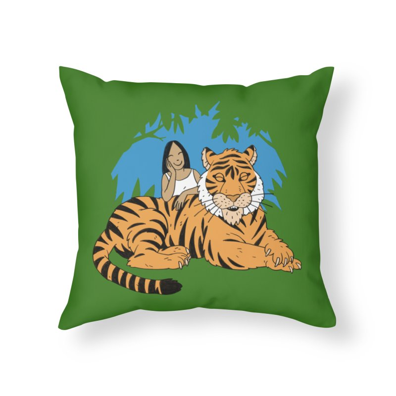 Pet Tiger Home Throw Pillow by Freehand