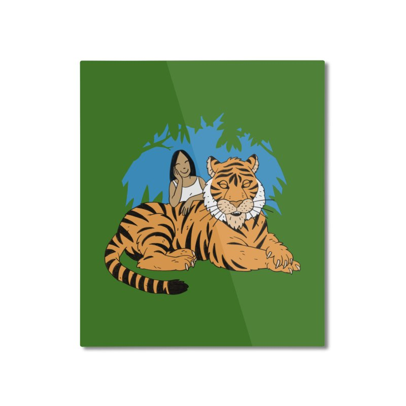 Pet Tiger Home Mounted Aluminum Print by Freehand