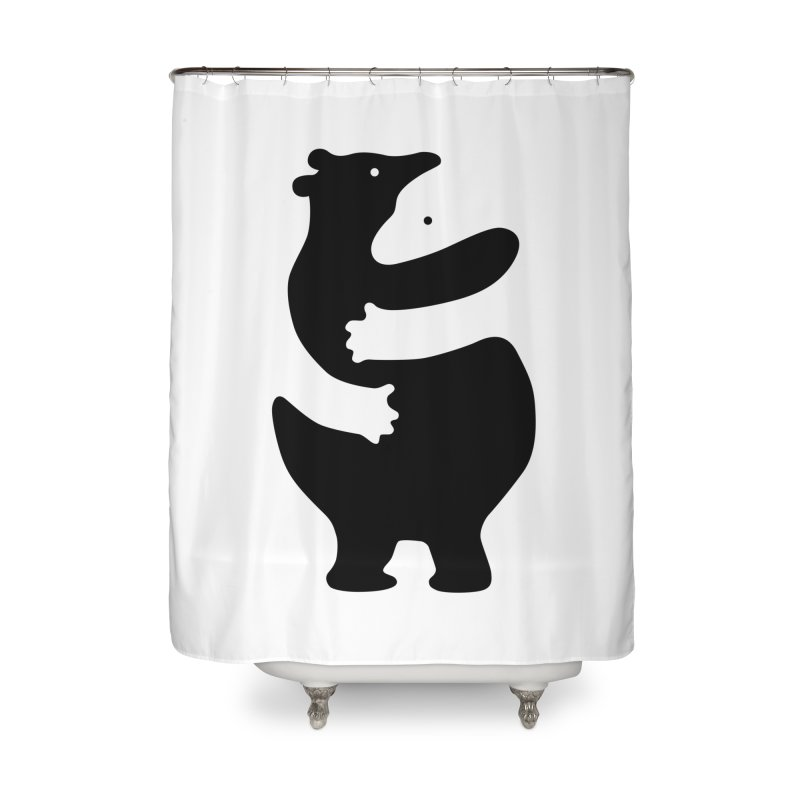 Huggers, black edition Home Shower Curtain by Freehand