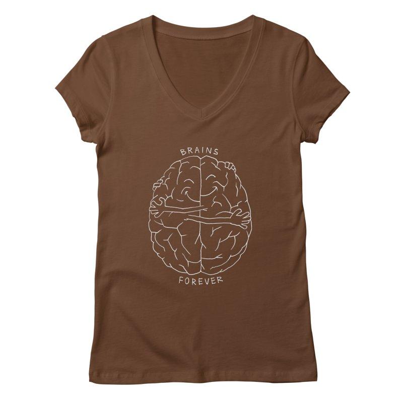 Brains Forever Women's Regular V-Neck by Freehand