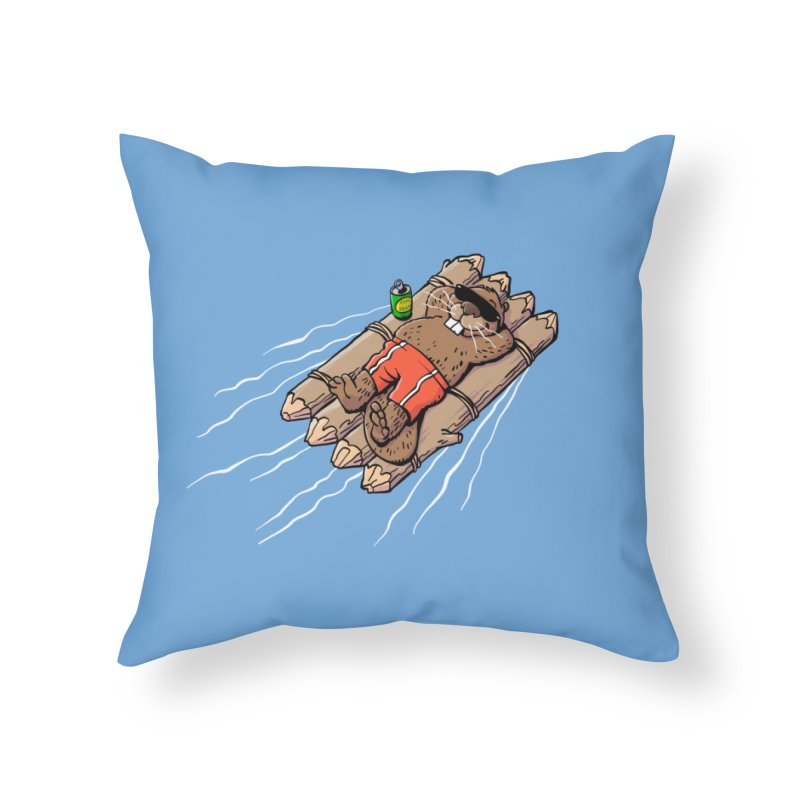 Beavacation Home Throw Pillow by Freehand