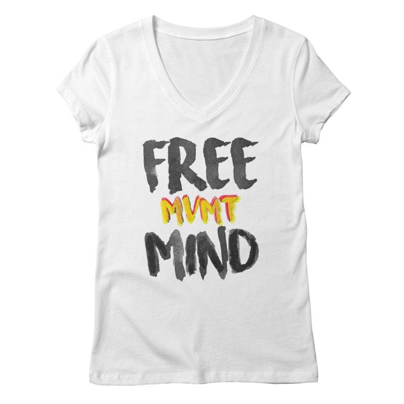 Freemind White BG Women's Regular V-Neck by FreemindMVMT Merch