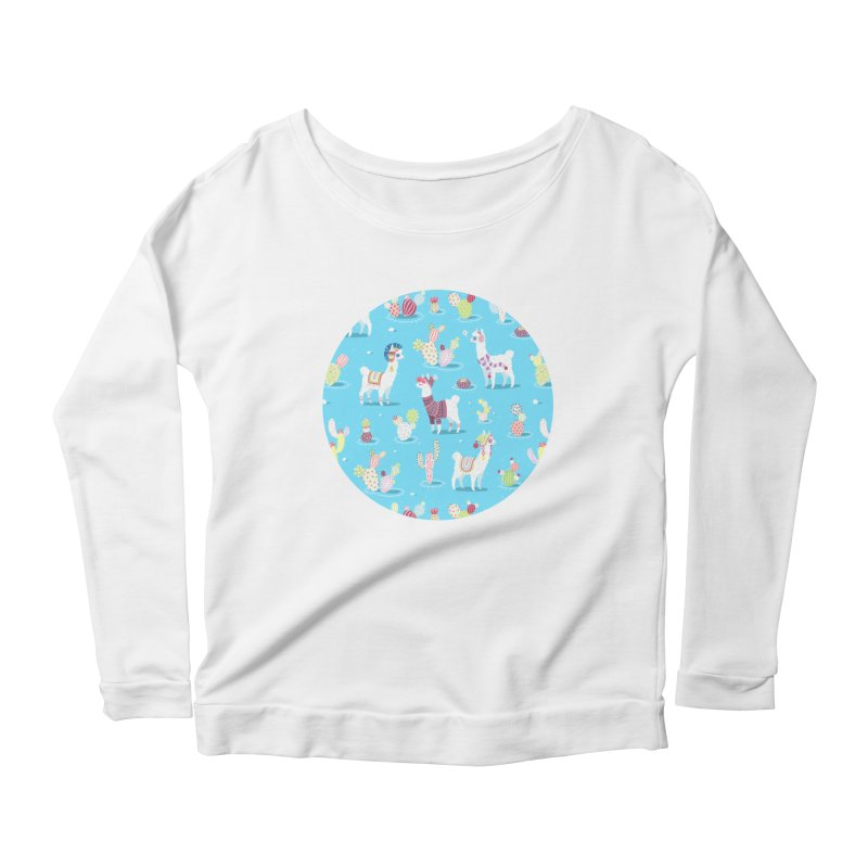 Alpaca Pattern Women's Longsleeve Scoopneck  by Freeminds's Artist Shop