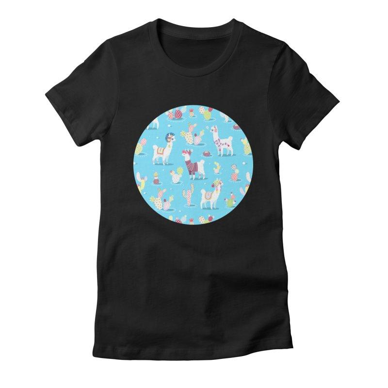 Alpaca Pattern Women's Fitted T-Shirt by Freeminds's Artist Shop
