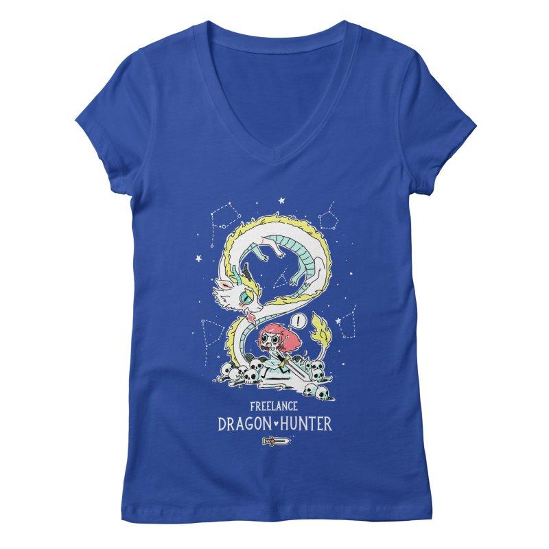 Dragon Hunter Women's V-Neck by Freeminds's Artist Shop