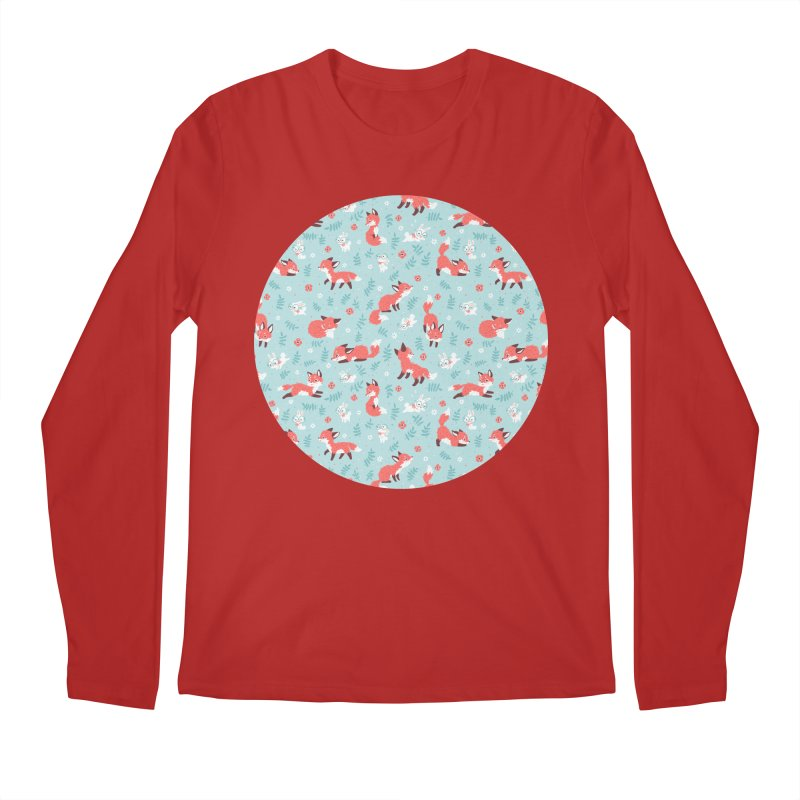 Fox and Bunny Pattern Men's Longsleeve T-Shirt by Freeminds's Artist Shop