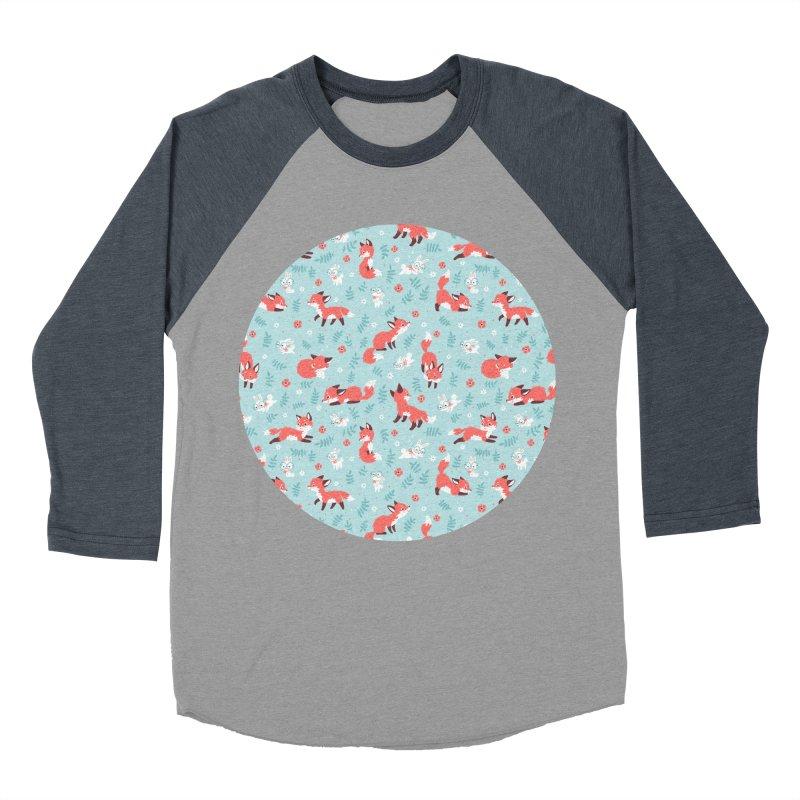Fox and Bunny Pattern Men's Baseball Triblend T-Shirt by Freeminds's Artist Shop