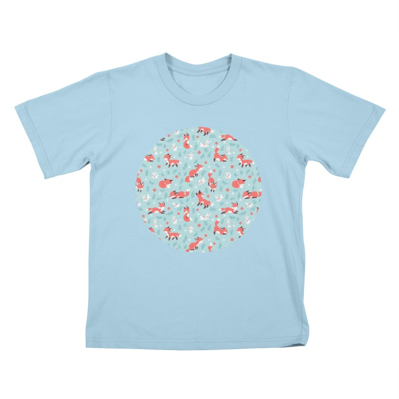 Fox and Bunny Pattern Kids T-shirt by Freeminds's Artist Shop