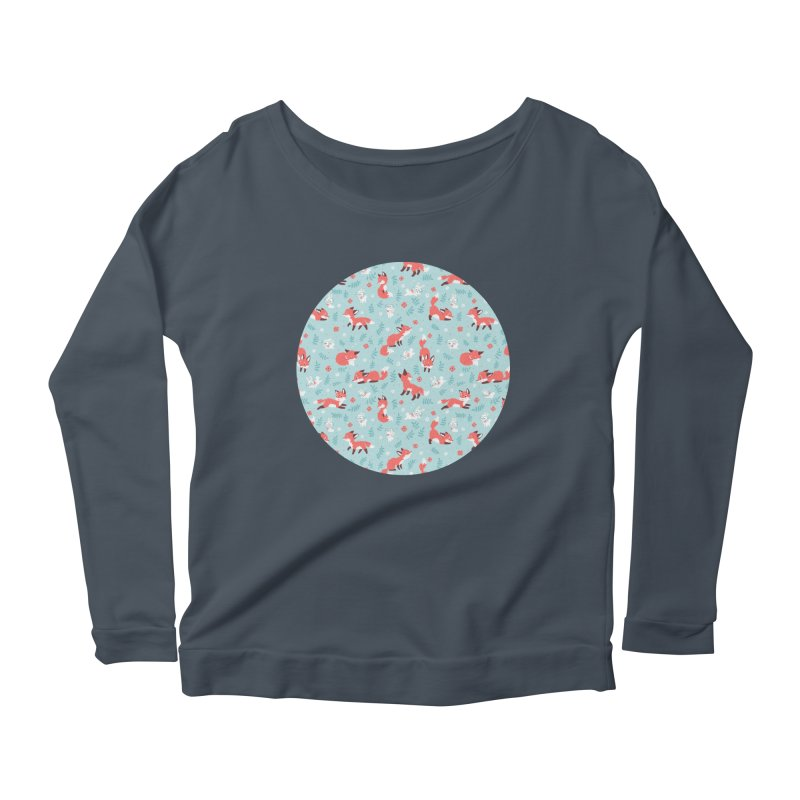 Fox and Bunny Pattern Women's Longsleeve Scoopneck  by Freeminds's Artist Shop