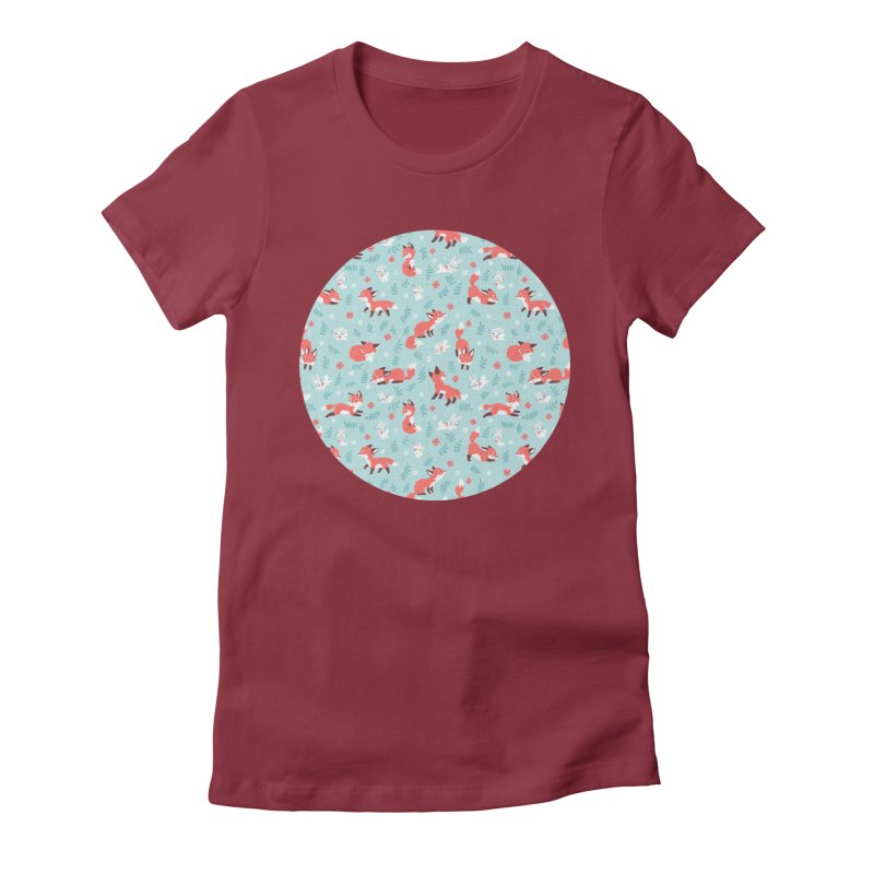 Fox and Bunny Pattern Women's Fitted T-Shirt by Freeminds's Artist Shop