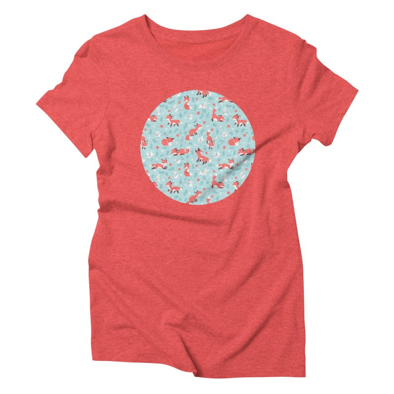 Fox and Bunny Pattern Women's Triblend T-shirt by Freeminds's Artist Shop