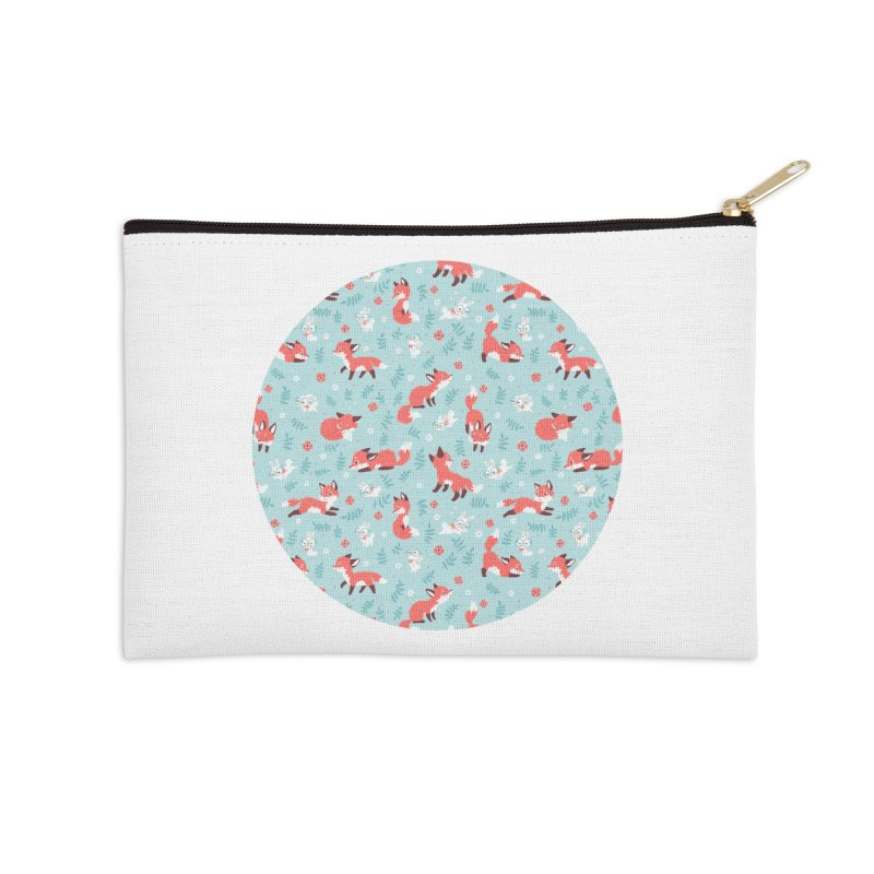 Fox and Bunny Pattern Accessories Zip Pouch by Freeminds's Artist Shop