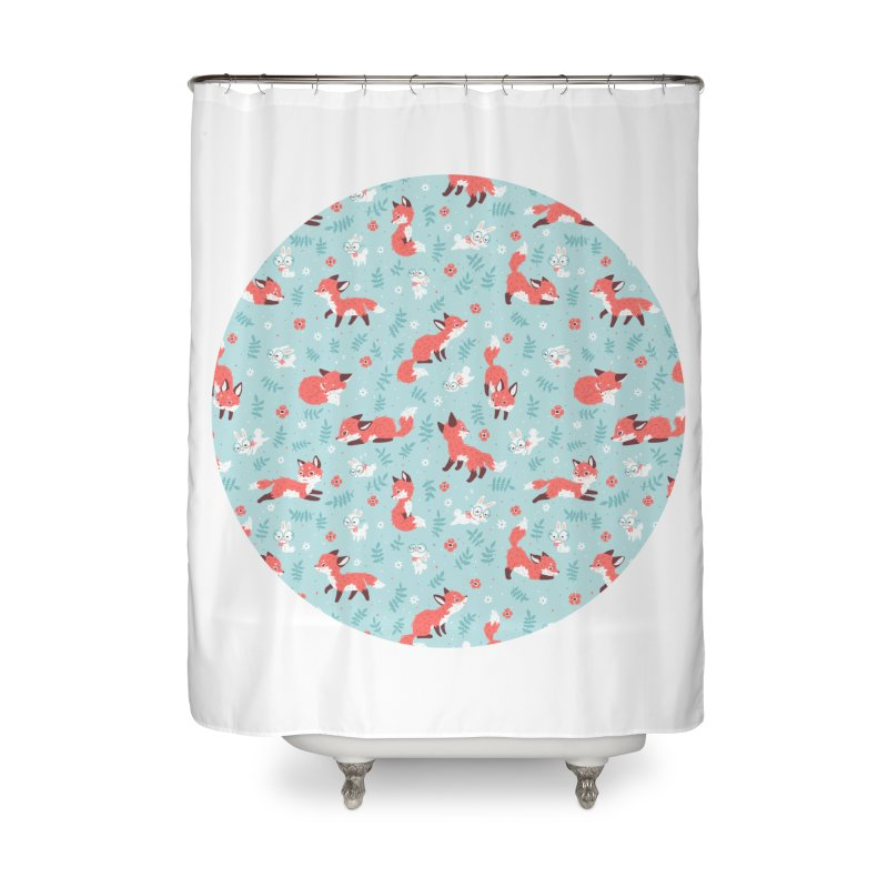Fox and Bunny Pattern Home Shower Curtain by Freeminds's Artist Shop