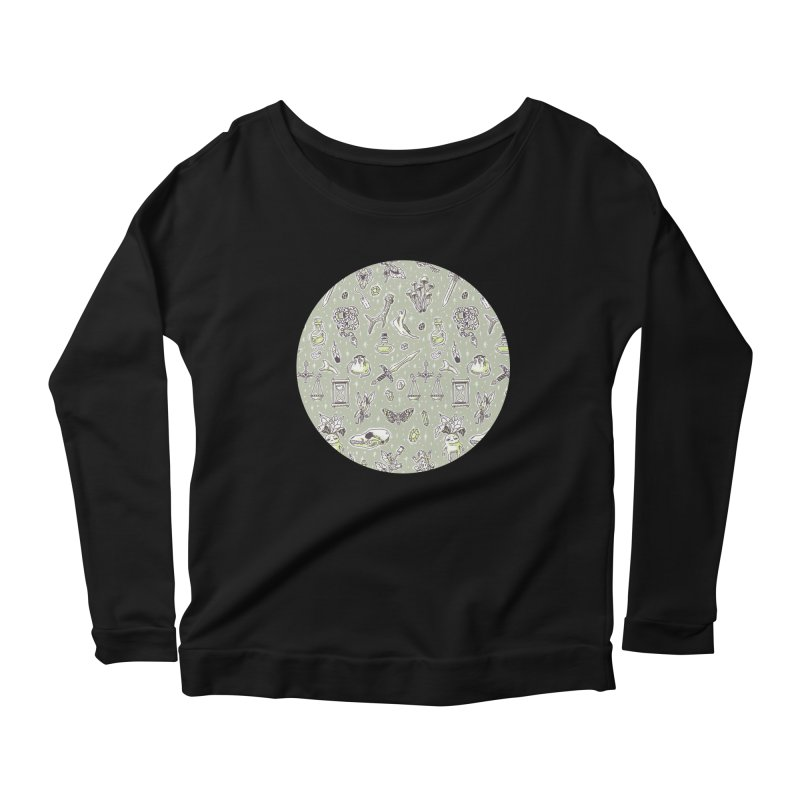 Witchcraft Pattern Women's Longsleeve Scoopneck  by Freeminds's Artist Shop