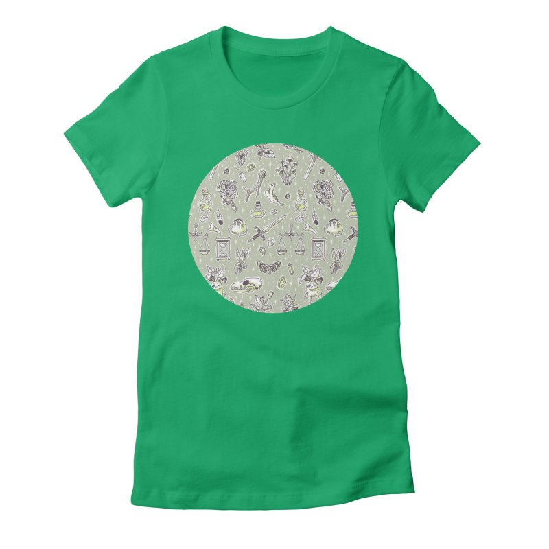 Witchcraft Pattern Women's Fitted T-Shirt by Freeminds's Artist Shop