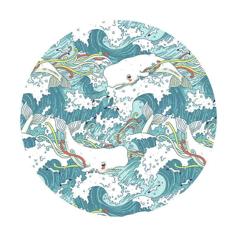 Whales and Waves Pattern None  by Freeminds