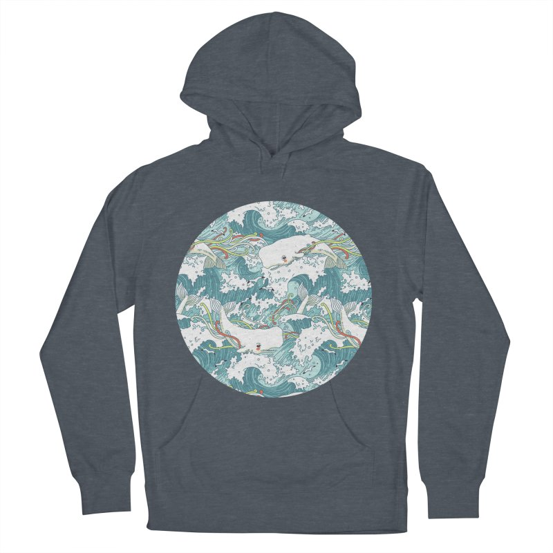 Whales and Waves Pattern Women's Pullover Hoody by Freeminds