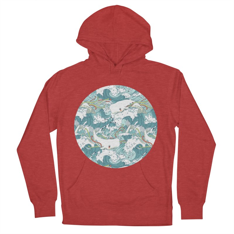 Whales and Waves Pattern Women's Pullover Hoody by Freeminds's Artist Shop