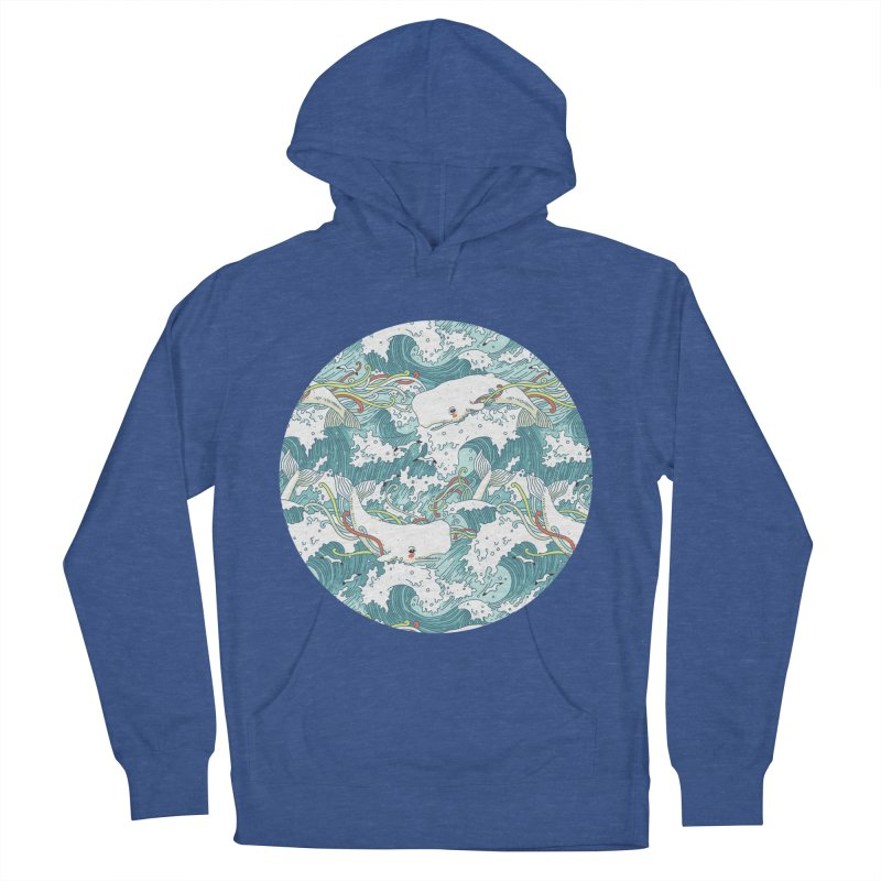 Whales and Waves Pattern Men's Pullover Hoody by Freeminds's Artist Shop