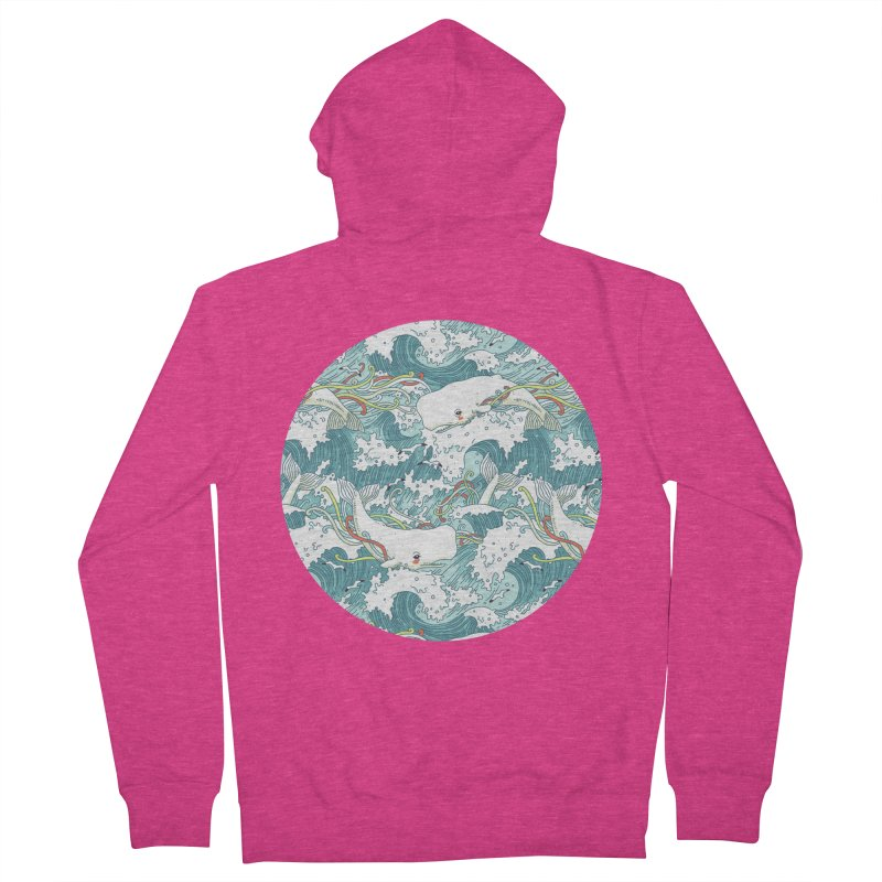 Whales and Waves Pattern Women's Zip-Up Hoody by Freeminds's Artist Shop