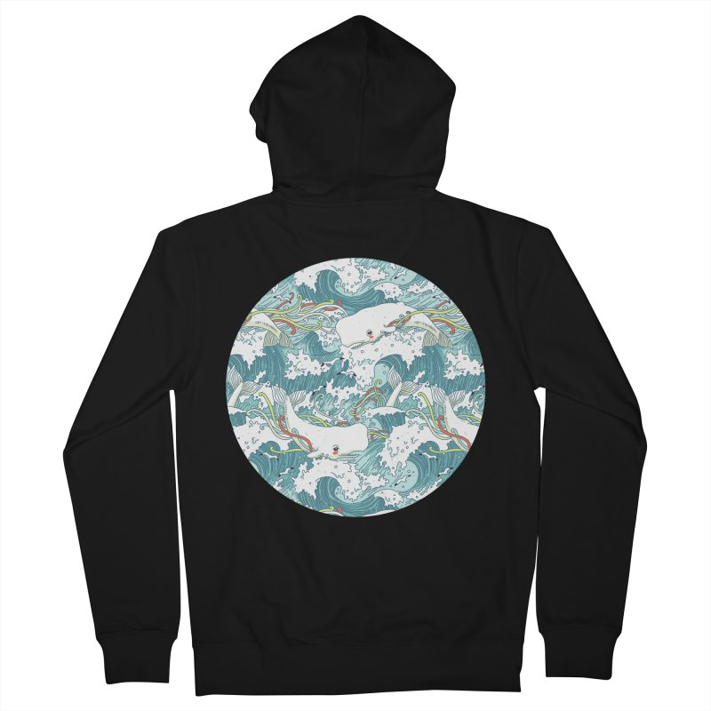 Whales and Waves Pattern Women's Zip-Up Hoody by Freeminds