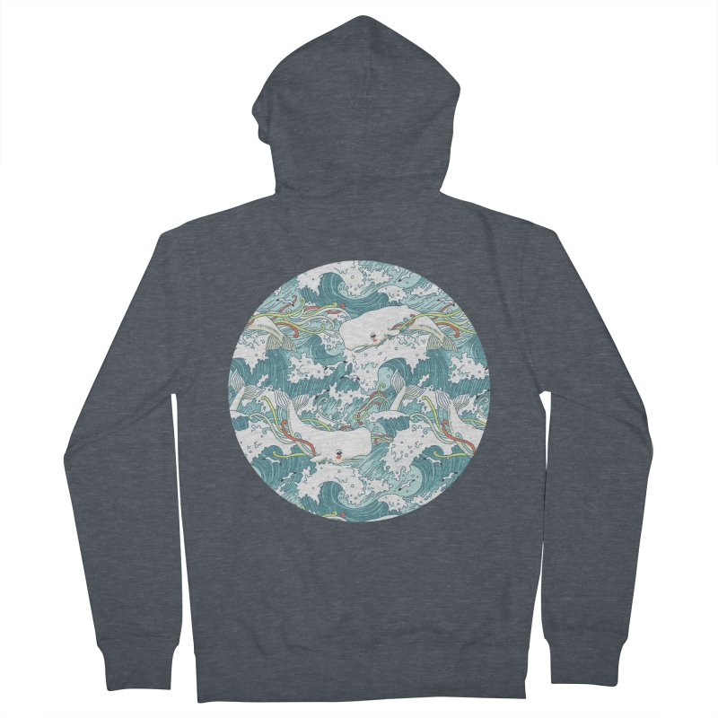 Whales and Waves Pattern Men's Zip-Up Hoody by Freeminds's Artist Shop