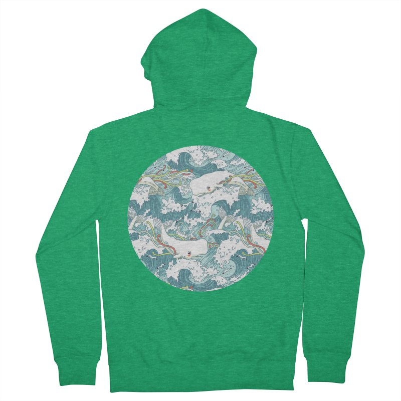 Whales and Waves Pattern Men's Zip-Up Hoody by Freeminds