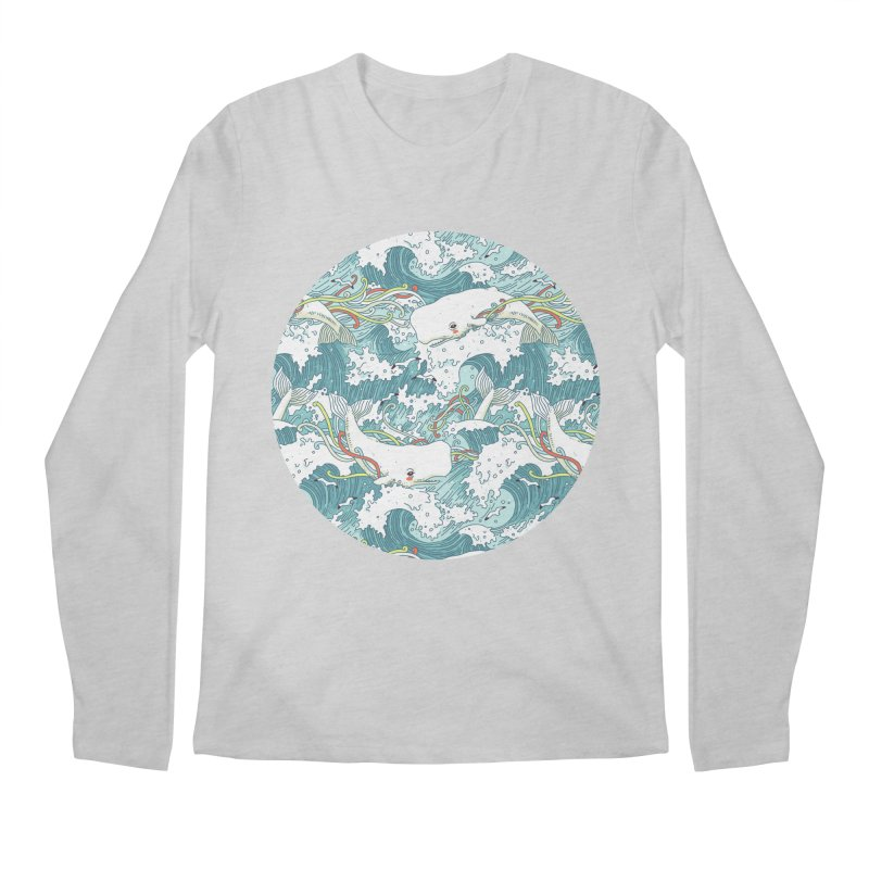 Whales and Waves Pattern Men's Longsleeve T-Shirt by Freeminds