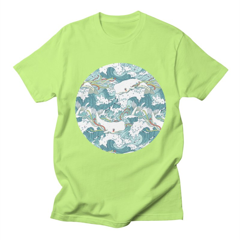 Whales and Waves Pattern Men's T-shirt by Freeminds's Artist Shop