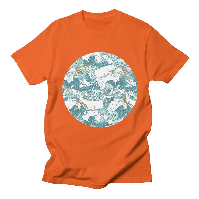 Whales and Waves Pattern Men's T-shirt by Freeminds