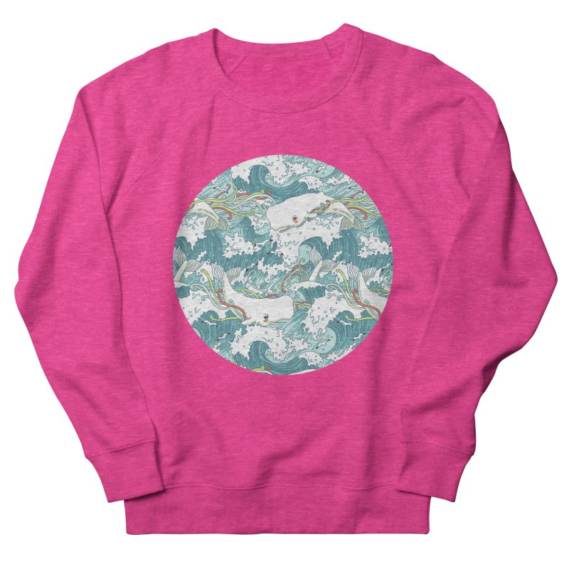 Whales and Waves Pattern Women's Sweatshirt by Freeminds's Artist Shop