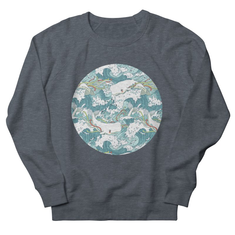 Whales and Waves Pattern Men's Sweatshirt by Freeminds's Artist Shop