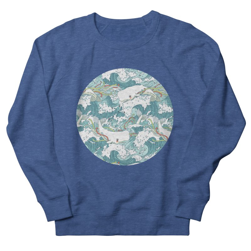 Whales and Waves Pattern Men's Sweatshirt by Freeminds