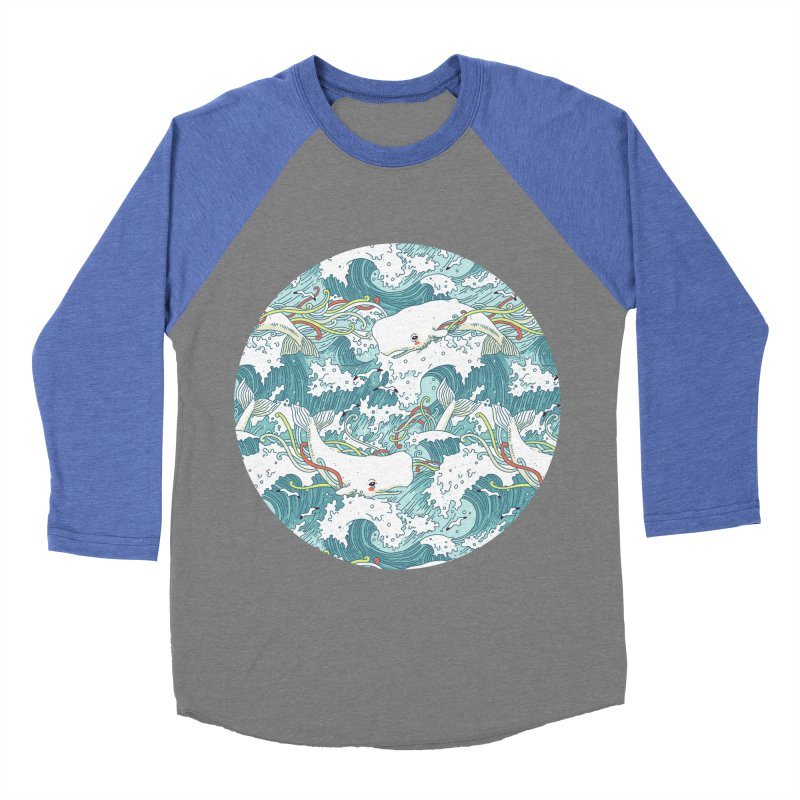 Whales and Waves Pattern Women's Baseball Triblend T-Shirt by Freeminds's Artist Shop