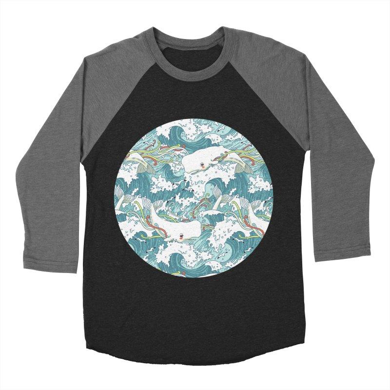Whales and Waves Pattern Women's Baseball Triblend T-Shirt by Freeminds